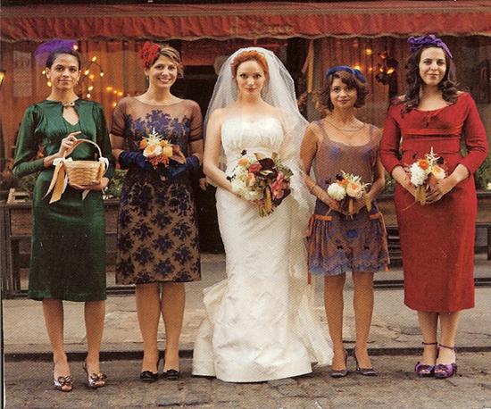 Bridal Party Dressed In Vintage
